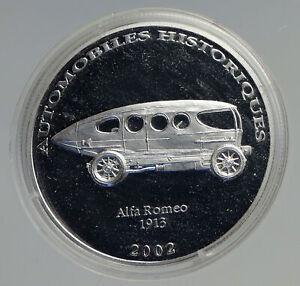 2003 CONGO 1913 Alfa Romeo AUTOMOBILE HISTORY Proof Silver 10 Francs Coin i94561