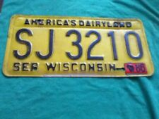 License Plate Tag Wisconsin SJ 3210 1986 America's Dairyland Rustic USA