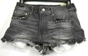American Eagle Junior Grey Studed Pocket Vintage High Rise Casual Short Shorts 4