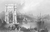 Italy, Ancona Triumphal ARCH OF TRAJAN ~ 1841 Architecture Art Print Engraving