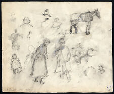 Original Drawing-STUDY SKETCH-FIGURES-HORSE-CARRIAGE-TOP HAT-Arthur Briet-1880