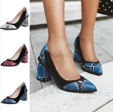 Women's Snakeskin Pattern Pointy Toe Office Party Block Heel Slip on Shoes 34-47