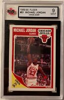 1989-90 FLEER BASKETBALL MICHAEL JORDAN #21 NBA HOF GOAT KSA 9MINT PSA CROSSOVER