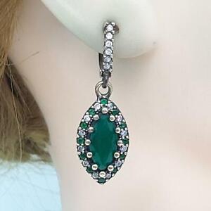 Deco 4.30ctw Emerald & Diamond Cut White Sapphire 14K Yellow Gold 925 Earrings