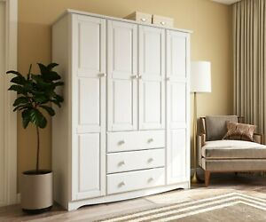 100% Solid Wood Family Wardrobe/Armoire/Closed, 5 Colors. No Shelves Included