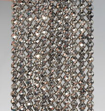 """3MM HEMATITE GEMSTONE PYRITE TONE FACETED ROUND 3MM LOOSE BEADS 16"""""""