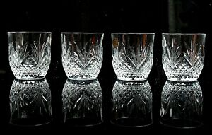 SET OF 4 VINTAGE FRENCH CHANTILLY CRYSTAL  WHISKEY GLASSES TUMBLERS