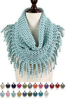 ScarvesMe Women's Winter Warm Two Tone Ribbed Knit Tube Loop Scarf with Fringe