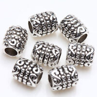 50x Tibetan Silver Round Tube Charm Spacer Bead Bracelet Jewelry Finding 6x5mm