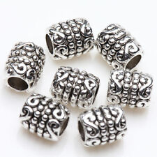 50x Tibetan Silver Round Tube Charm Spacer Bead Bracelet Jewelry Finding 6x5mm
