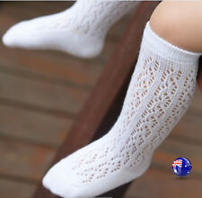 Girl Kid baby White knees Calf High Cotton Net long Socks Tights 0-24months 0-2y