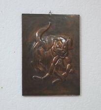 Kupfer Bild Wandbild Relieff 22 x 31 cm auf Holz Hund Handarbeit 60er Jahre RAR