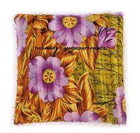 Indien Vintage Kantha Jaune Imprimé Floral Coton Pom Lacet Coussin Housse 45.7cm