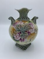 "Antique Nippon Royal Moriye Hand Painted Flower Moriage Vase 7"""