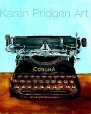 ACEO ATC Art Card Painting Print Signed Still Life Vintage Typewriter
