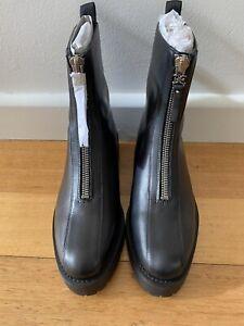 Sam Edelman  Black Leather Combat Jacquie Boots Zipper Front Size 9.5 New In Box