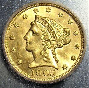 1905 gold $2 1/2 MS63 ICG.