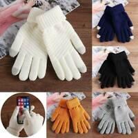 Winter Warm Woolen Thicken Full Finger Knitted Wool Women Gloves Touch Screen