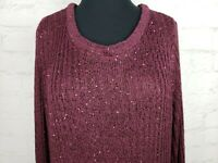 Apt. 9 Womens Size XL Plum Sweater Tunic Long Sleeves Sequins Scoop NEW MSRP $50