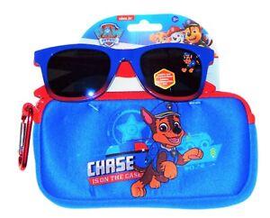 Paw Patrol Chase Jungen 100% UV Bruchsicher Sonnenbrille & Weiche Tasche Satz