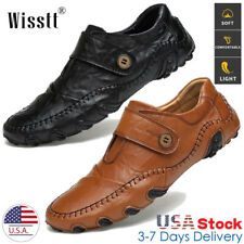 Mens Hand Stitching Leather Casual Shoes Antiskid Breathable Loafers Moccasins