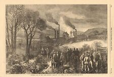 1866-ANTIQUE PRINT-YORKSHIRE-GENERAL VIEW OF OAKS COLLIERY, BARNSLEY