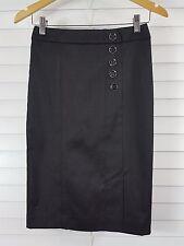 REVIEW sz 6 womens black skirt w/ buttons detail