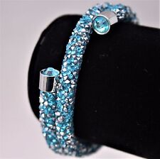 2017 2 WRAP TEAL/SILVER BANGLE BRACELET MADE WITH SWAROVSKICRYSTAL ELEMENTS GIFT