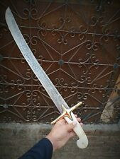 """DAMASCUS STEEL ARABIC SWORD""CUSTOM HANDMADE/TRADITIONAL SWORD 29"" BONE HANDLE"