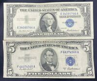 US Paper Currency Collection $5 Dollar Blue $1 Dollar Blue Silver Certificate