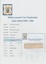 LEN DUNDERDALE LEEDS UNITED 1939-1946 VERY RARE ORIG HAND SIGNED CUTTING/CARD