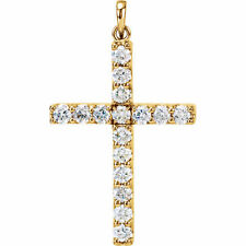 Cruz Diamante 45.7cm Collar en 14k ORO AMARILLO ( 1/2 Ct. TW