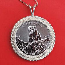 2012 Canada .9999 Fine Silver 1 Oz Argent Pur $5 Coin Silver Necklace - Cougar