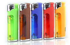 5 Pack 5-Flags Refillable Butane Lighter Assorted Colors with LED Flashlight