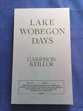 LAKE WOBEGON DAYS - UNCORRECTED PROOF BY GARRISON KEILLOR