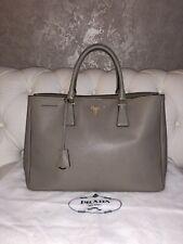 Auth PRADA Argilla Large Saffiano Lux Gray Leather Tote Shoulder Bag Handbag