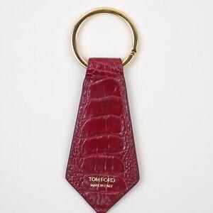 NWT TOM FORD Key Chain Red deep Ruby pattern 4 x 11 cm 100% Ostrich