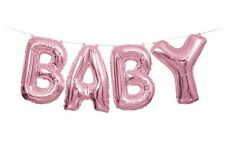 Unique Industries 53684 Foil Baby Letter Balloon Banner Kit Pink.