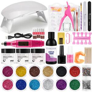 Coscelia Acrylic Nail Art Kit Acrylic Powder Liquid Glitter False Nail Tips Tool