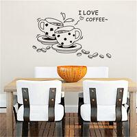 I Love Coffee Cups Kitchen Wall Tea Sticker Vinyl Decal Art Restaurant PubRASK
