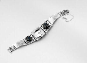 Shablool 925 Sterling Silver Black Onyx Stone Watch For Lady Jewelry