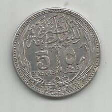 64B) EGYPT 5 PIASTRES 1917 - SILVER 0,833 - XF/MBC