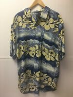 JAMS World Hawaiian Floral Shirt Men's size Large L short sleeve 100% Rayon