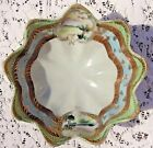VINTAGE 1950's HAND PAINTED FOOTED PORCELAIN BERRY BOWL WITH GOLD TRIM - JAPAN