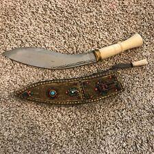 Vintage Middle Eastern Gurkha / Kukri Knife / Dagger with Jeweled Sheath