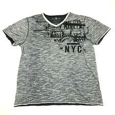 Marc Ecko CUT & SEW V-neck Shirt Size Large Gray Heather Short Sleeve Polycotton