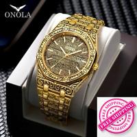 ONOLA Original Vintage Carved Watch Man Waterproof steel Brand Luxury Wristwatch