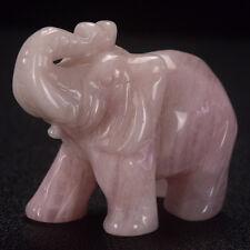 2.5 inch carved rose quartz elephant animal lucky figurine Feng Shui Reiki decor