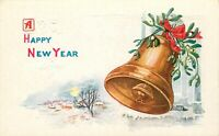 DB Christmas Postcard E442 Happy New Year Embossed Bell Mistletoe Snow Scene