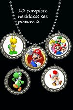 Mario party theme Bottle Cap Necklaces party favors lot of 10 Mario brothers bro